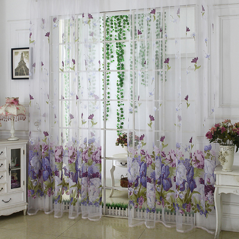Pastoral Floral Print Translucidus Sheer Curtains for Living Room Custom 2 Panels Breathable Drapes No Pilling No Fading No off-lining
