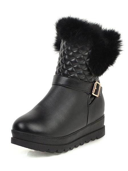 Milanoo Sweet Lolita Ankle Boots Diamond Pattern Furry PU Round Toe Pink Lolita Snow Boots