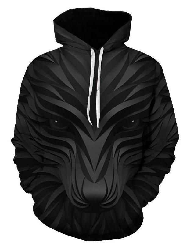 3D Black Fox Print Soft and Warm Long Sleeve Pullover Hoodies Sweatshirt Sweaters