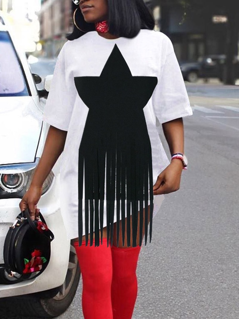 Ericdress Star Mid-Length Round Neck Loose Casual T-Shirt