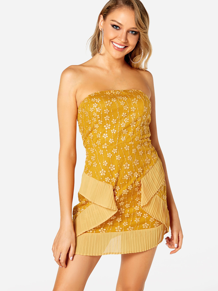 Yoins Yellow Embellished Strapless Off Shoulder Sexy Dress