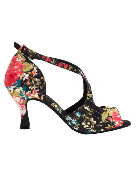 Milanoo Vintage Dance Shoes Floral Printed Peep Flared Heel Strap Cross Front Ballroom Shoes For Women