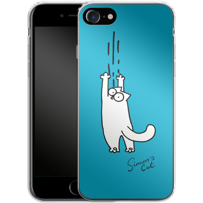 Apple iPhone 7 Silikon Handyhuelle - Scratching Over Blue von Simons Cat