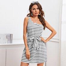 Striped Print One Shoulder Dress With Belt