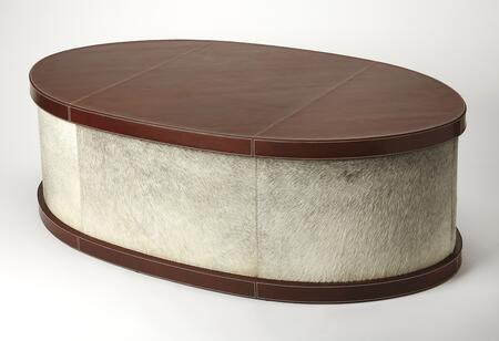 Leandro Collection 5300350 Oval Coffee Table with Modern Style  Oval Shape  Solid Wood and Leather Uphlostery in Cosmopolitan