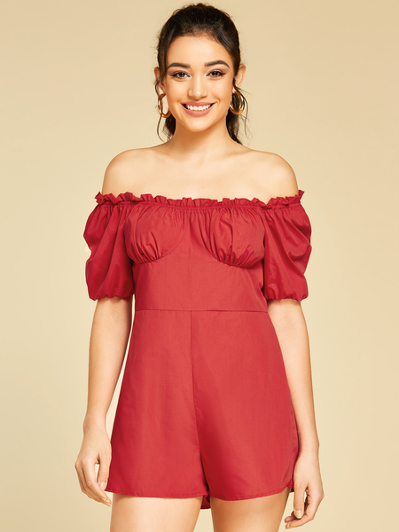 Yoins Red Lettuce-edge Off The Shoulder Short Sleeves Playsuits