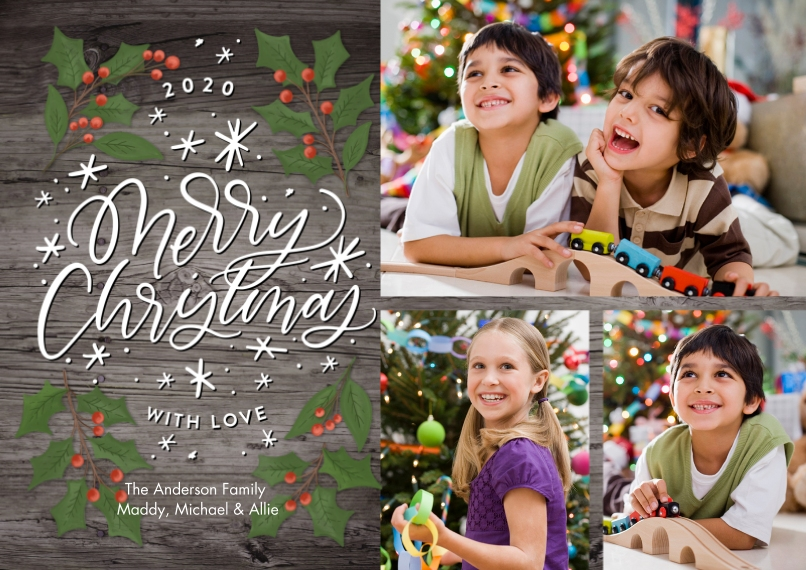 Christmas Photo Cards 5x7 Cards, Premium Cardstock 120lb with Rounded Corners, Card & Stationery -Christmas 2020 Rustic Holly by Tumbalina