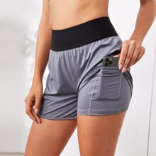 Wide Waistband 2 In 1 Sports Shorts