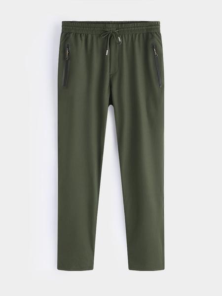 Yoins Olive Outdoor Style Quickly Dry Plain Drawstring Waist Zipper Pocket Men's Long Pants