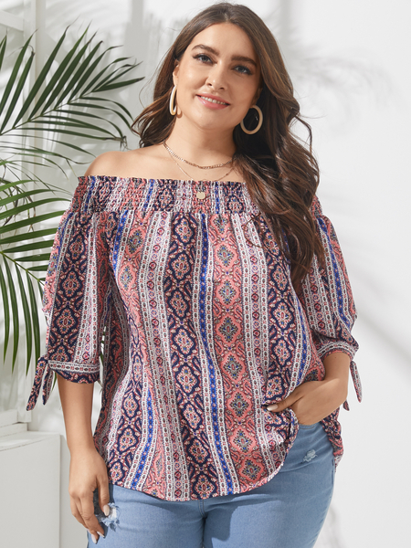 YOINS Plus Size Off The Shoulder Tribal Shirring 3/4 Length Sleeves Blouse
