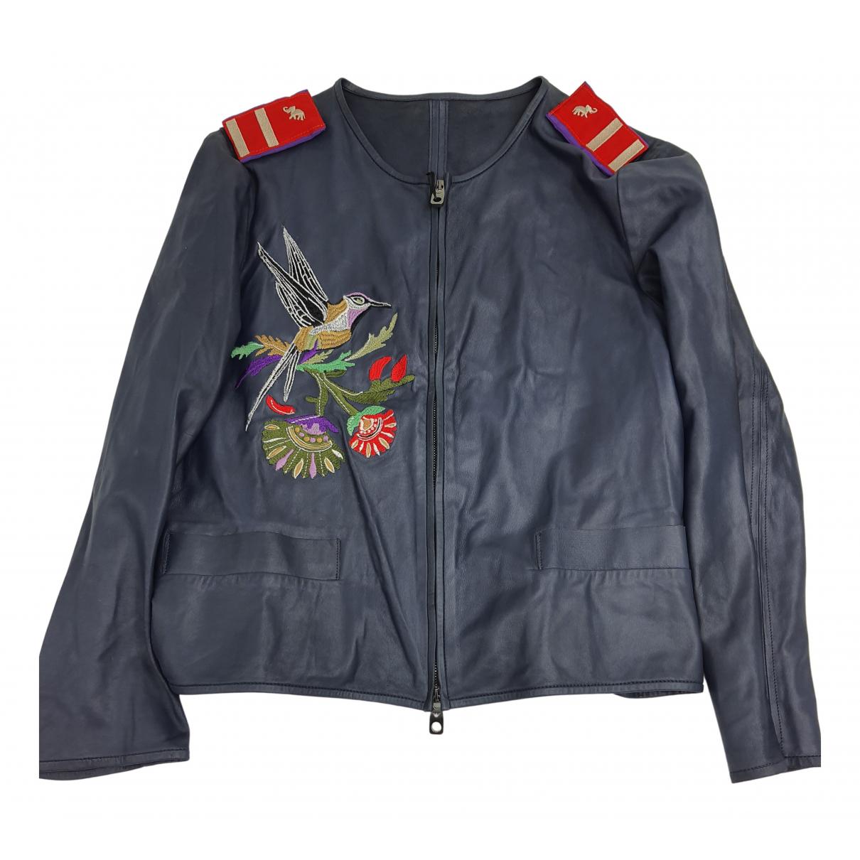 Giorgio Armani N Blue Leather jacket for Women 40 IT