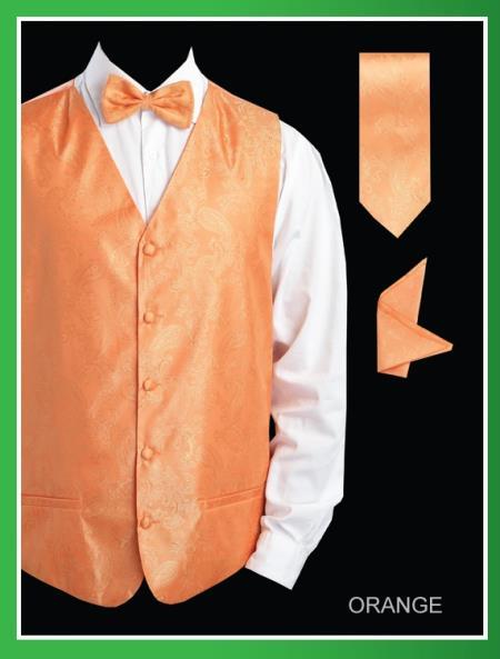 Mens 4 Piece Vest Set  Shiny Paisley Jacquard Orange