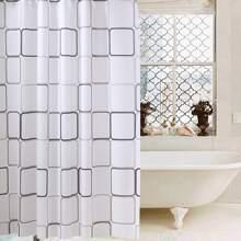 1 Stueck Duschvorhang mit Karo Muster und 12 Haken
