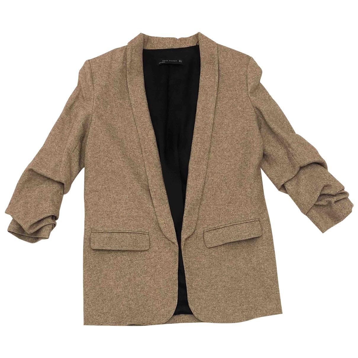 Zara \N Jacke in  Beige Wolle