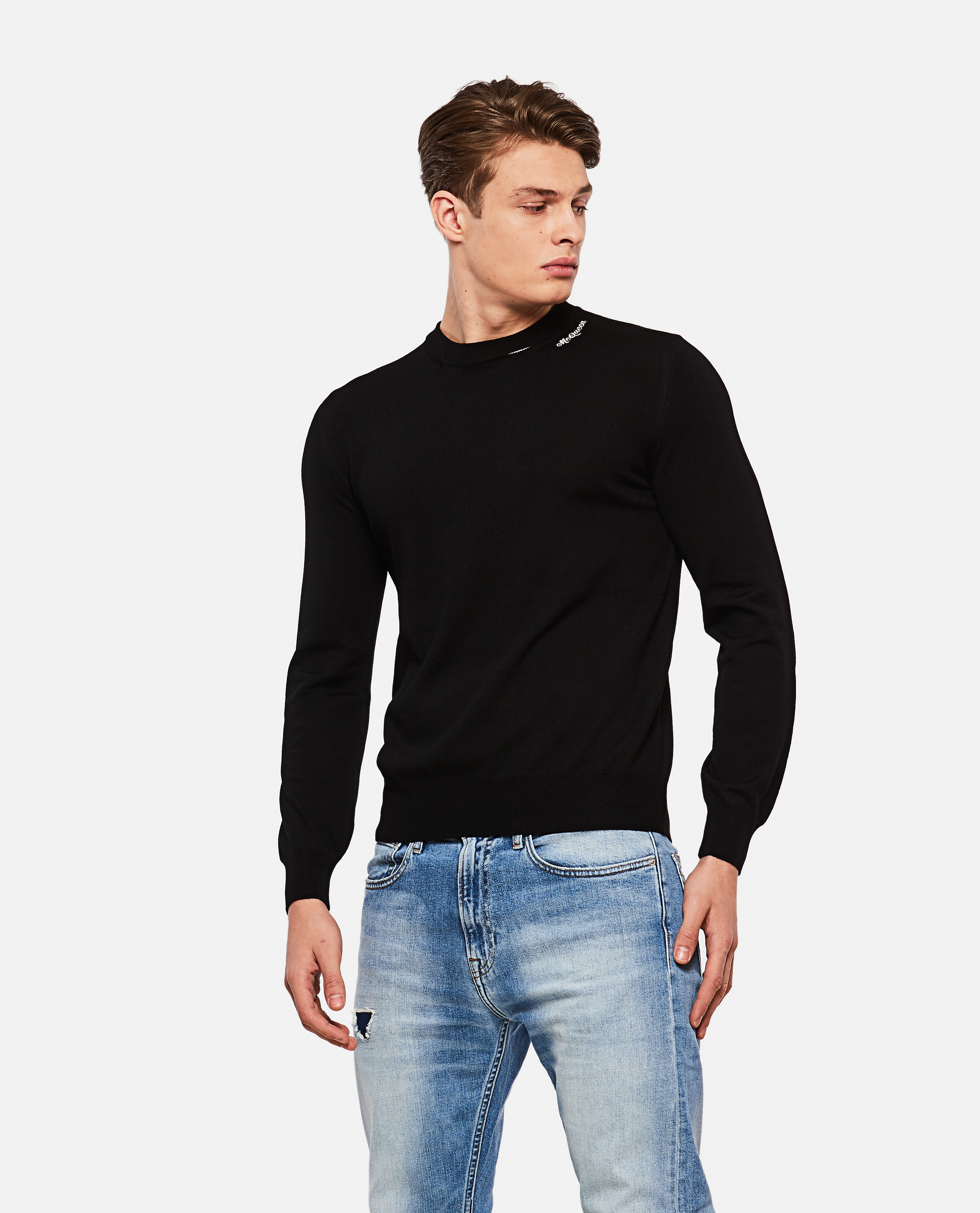 Wool pullover with embroidered logo patch