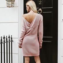 Twist Back Drop Shoulder Sweater Dress