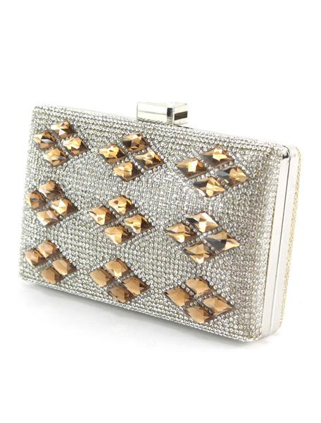 Milanoo Evening Party Handbags Rhinestone Beaded Wedding Bridal Clutch Bags