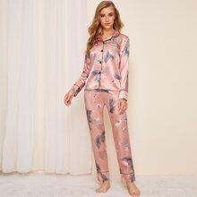 Satin Schlafanzug Set mit Kranich & Blatt Muster