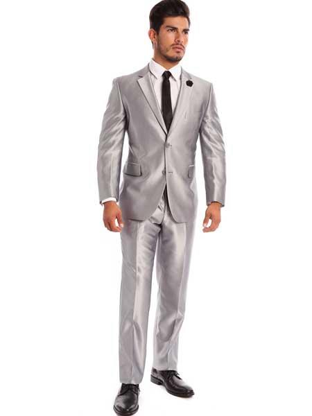 2 Piece Silver Notch Lapel Sharkskin Solid Italian Styled Suit