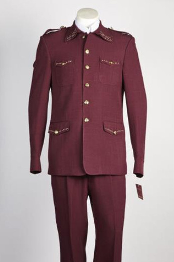 Mens 2 Piece 2 Button Single Breasted Suit Wine