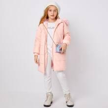 Girls Faux Fur Detail Cord Puffer Coat