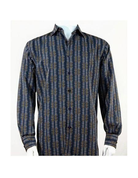 Full Cut Long Sleeve Mini Dots Blue Fashion Shirt