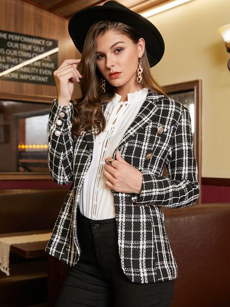 YOINS Black Check Front Button Lapel Collar Blazer
