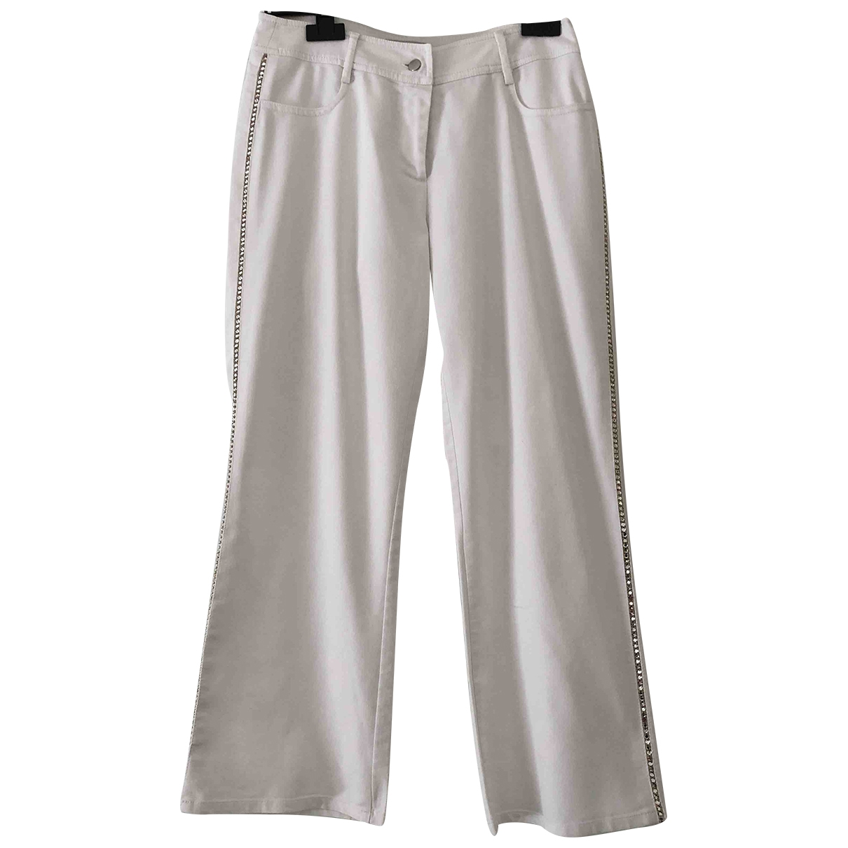 Non Signé / Unsigned \N White Cotton Trousers for Women 40 IT