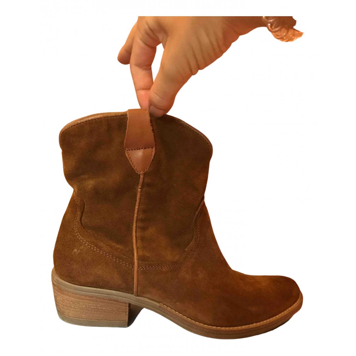 - Boots   pour femme en suede - camel