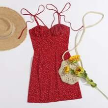 Tie Shoulder Ruched Bust Ditsy Floral Cami Dress