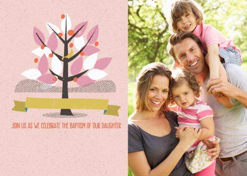 Baptism Invitations 5x7 Cards, Premium Cardstock 120lb, Card & Stationery -Girl Baptism Tree