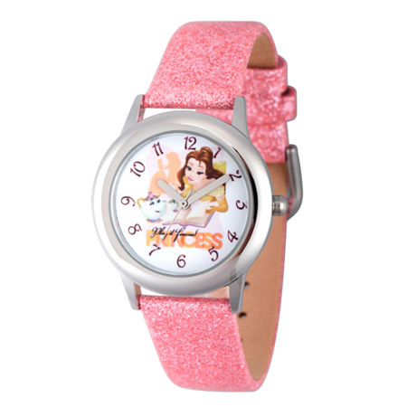 Disney Princess Girls Pink Glitz Beauty and The Beast Belle Time Teacher Strap Watch W002922, One Size , No Color Family