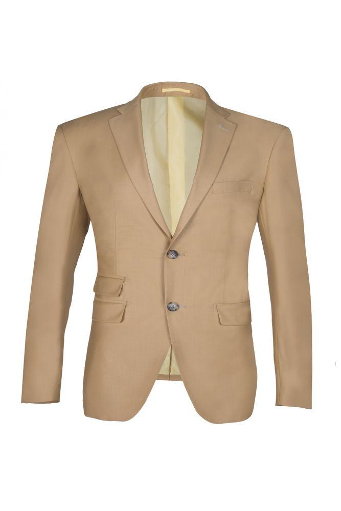 Latest Design Two Button Nude Color Peak Lapel Bridegroom Wedding Suit