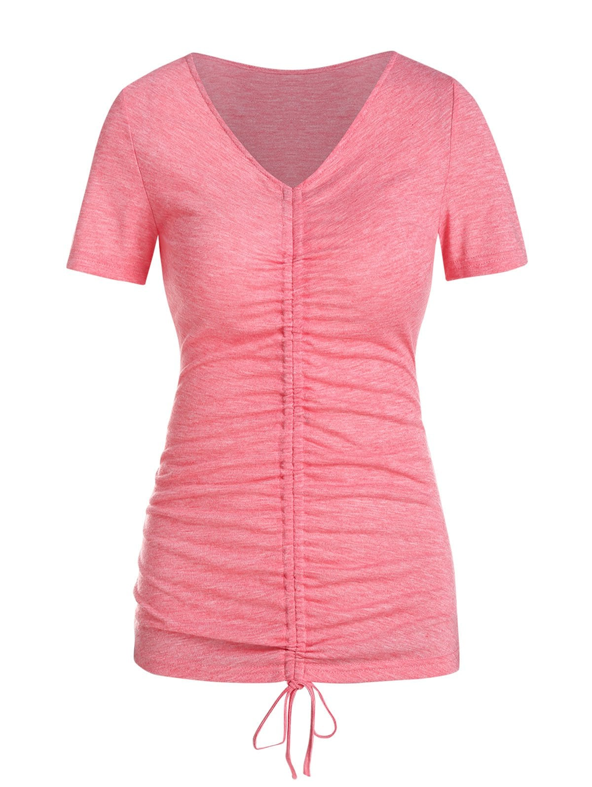 Short Sleeve Cinched Heathered T-shirt