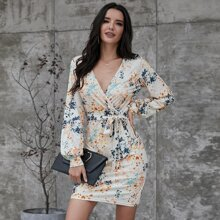 Surplice Front Allover Print Belted Fitted Dress