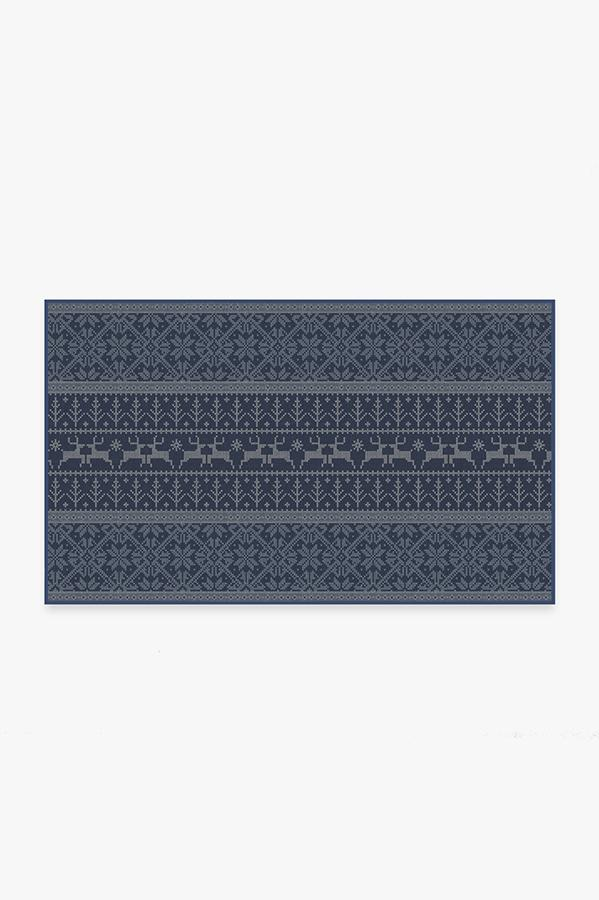 Washable Rug Cover | Fair Isle Blue Rug | Stain-Resistant | Ruggable | 3'x5'