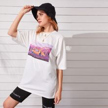 Letter & Graphic Round Neck Tee