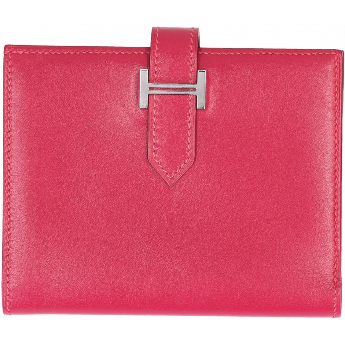 Hermes Bearn Portemonnaie in  Rosa Leder