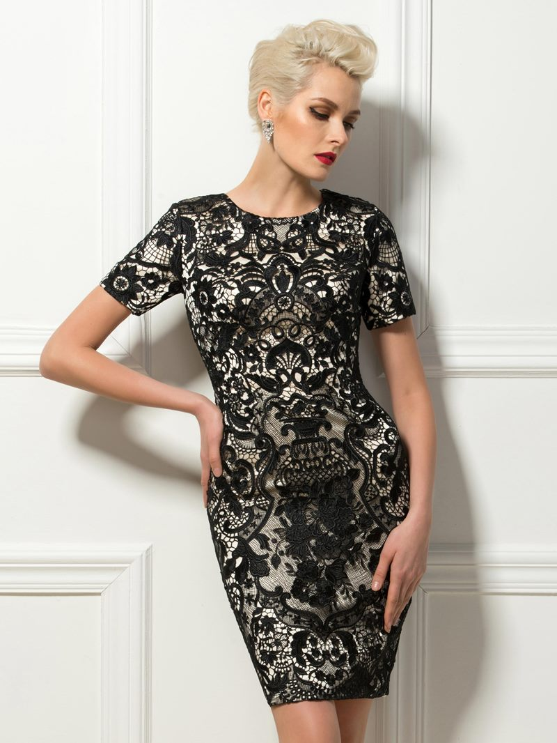 Ericdress Sheath Short Sleeves Lace Cocktail Dress