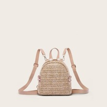 Faux Pearl Decor Braided Backpack