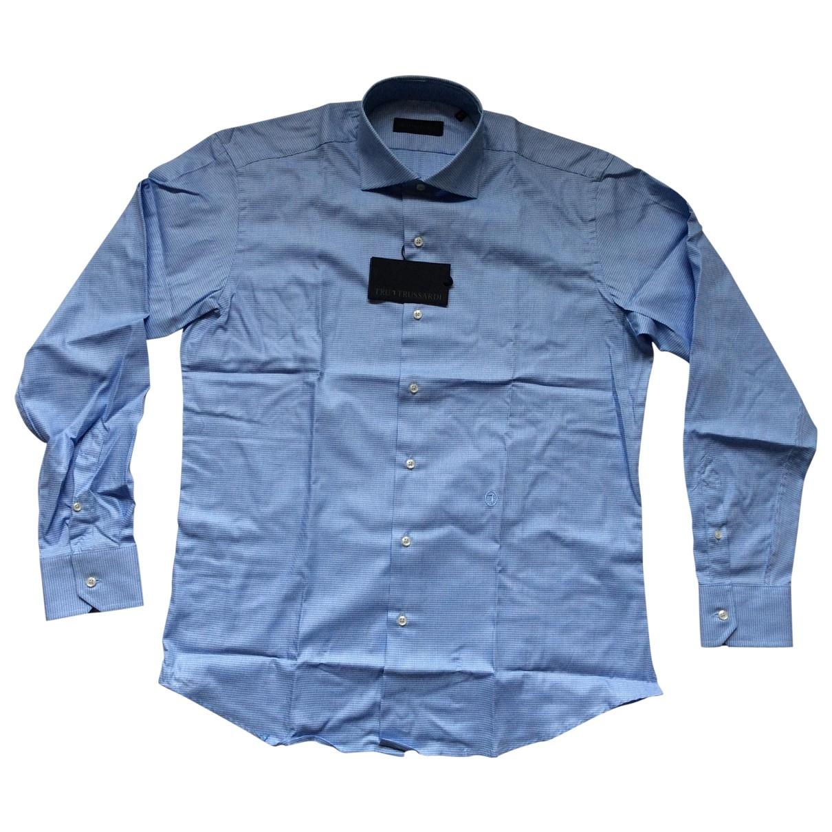 Trussardi \N Blue Cotton Shirts for Men 41 EU (tour de cou / collar)