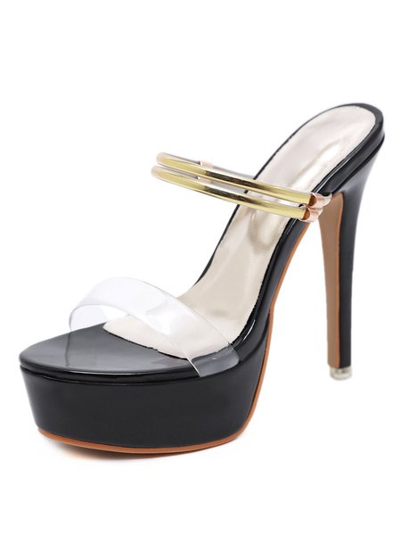 Milanoo Platform High Heel Sandals Womens Transparent Open Toe Stiletto Heel Sandals