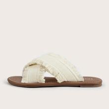 Fringe Trim Criss Cross Slide Sandals