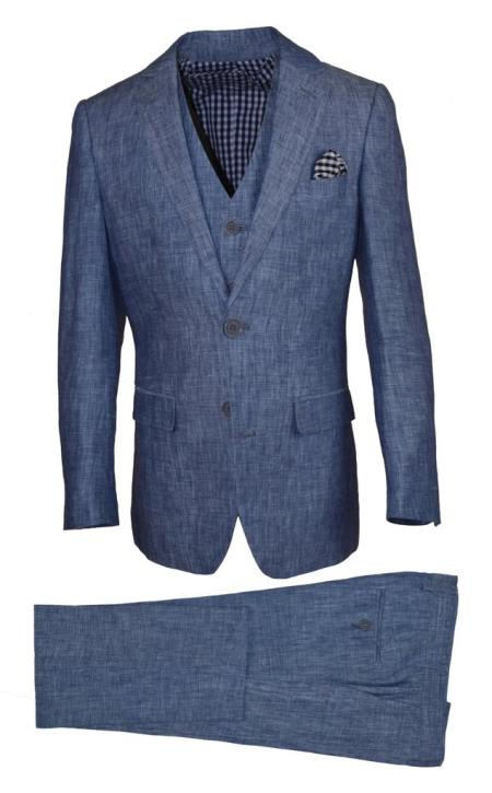 Mens Single Breasted Notch Lapel Navy Linen Suit And Pant