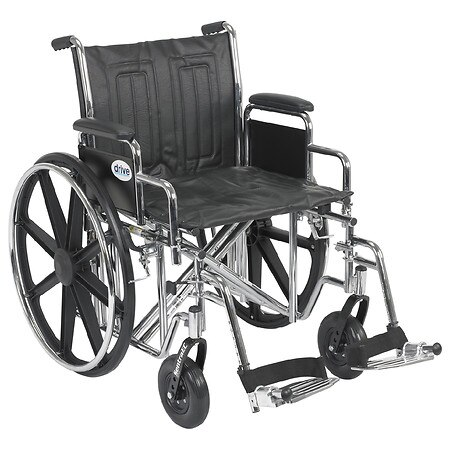 Drive Medical Sentra EC Heavy Duty Wheelchair, Detachable Desk Arms, Swing away Footrests 20 Seat - 1.0 ea