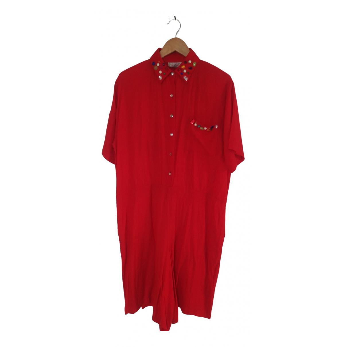 - Combinaison Oversize pour femme en coton - rouge