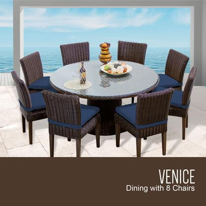 VENICE-60-KIT-8C-NAVY Venice 60 Inch Outdoor Patio Dining Table with 8 Armless Chairs with 2 Covers: Wheat and