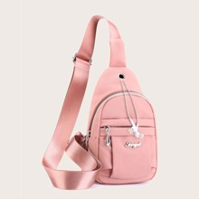 Metal Letter Decor Sling Bag With Earphone Hole