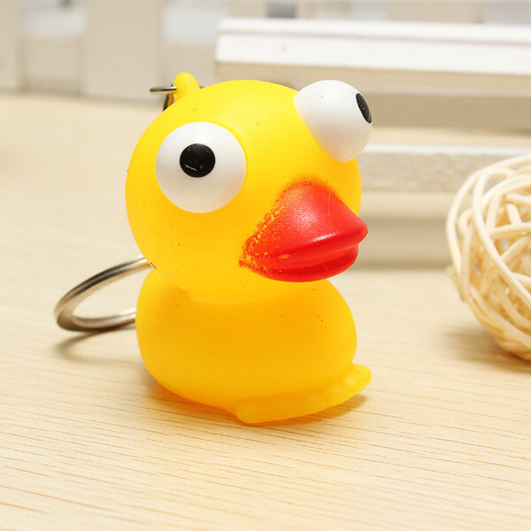 Small Yellow Duck Squeeze Spoof Toy Stress Reliever Toy With Key Chain Squishy Toys