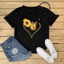Sunflower & Butterfly Print Tee